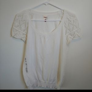 ONLY White Knit Top with Crocheted Cap Sleeved, M